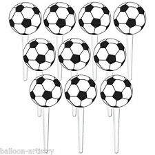 36 Football Sports Party Soccer Ball Cake Toppers Snack Picks Decorations
