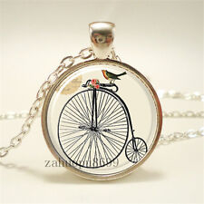 Vintage Bike Cabochon Silver plated Glass Chain 25mm Pendant Necklace