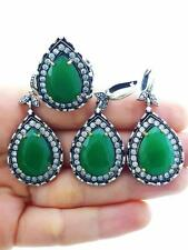 STERLING 925 SILVER EMERALD SET SIZE 8  RING TURKISH HANDMADE JEWELRY S2031