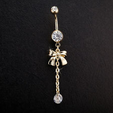 Navel Belly Bars Crystal Dangly Body Piercing Belly Button Long Gold Bow Tassel