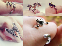 Animal fashion rings cat mouse fox kitten bat horse owl wings birds. Jewellery