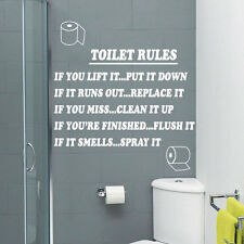 Toilet Rules Bathroom Art Wall Quote Stickers Wall Decals Bathroom Decoration 33