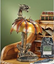 Gothic Spiny Winged Serpent Dragon Antique Bronze Finish Table Lamp