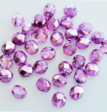 50 Pinkish Purple Metallic Faceted Fire Polished Czech Glass Beads 6MM