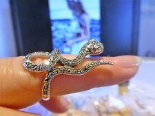 Belle BAGUE ARGENT 925 serpent avec  marcassites taille : 57 poinçon