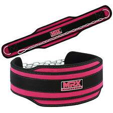 MRX Power Weight Lifting Gym Exercise Dip Belt with Metal Chain Pink