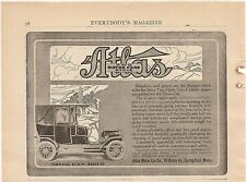 1908 Original Ad Atlas Two Cycle Motor Cars Automobile Ad Town Car