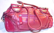 "RRP$399 MIMCO Stunning Metallic Maroon Leather Shoulder Bag/""Natural Day Bag"""