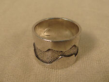 STERLING MODERNIST SILVER RING ABSTRACT WIDE BAND SIZE 8 3/4 MODERN ARTS CRAFTS