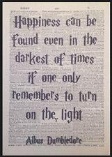 Dumbledore Citation Harry Potter Vintage Dictionary Imprimé Image Art Happiness