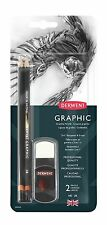 Derwent Artists Graphic Pencils & 2 in 1 Sharpener Eraser Set