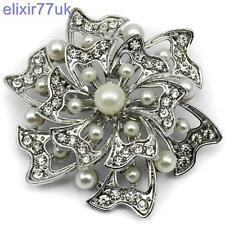 "STUNNING 2.4"" SILVER FLOWER PEARL BROOCH DIAMANTE CRYSTAL BROACH WEDDING GIFT UK"