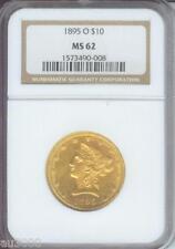 1895-O $10 Liberty Ngc Ms62 Nice Ms-62 Scarce O Mint !