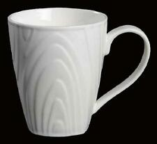 "4 Roscher Elegant Embossed Woodgrain 4-1/4"" White Bone China Mugs NEW 2 Avail"