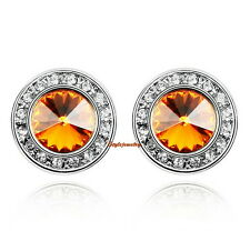 White Gold Filled Yellow Topaz Citrine Swarovski Crystal Round Stud Earring IE27