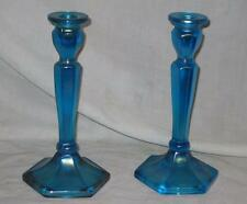 Two Sapphire Blue Carnival Glass Candlesticks Florentine #695 Pattern Northwood