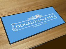 Personalised White Beer Label Blue bar runner home bar counter mat
