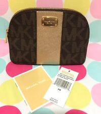 New Michael Kors Met Center Lg Travel Pouch/Cosmetic Case Brown/Pale Gold $88