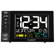 S85906 La Crosse Technology Dual Alarm Clock with 2 USB Charging Ports - Black