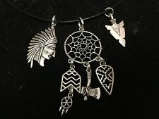 """Indian Chief Bow Arrowhead Dreamcatcher Charm Tibetan Silver 18"""" Rope Necklace"""