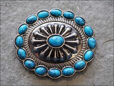 Set Of 8 Turquoise Oval Antique Nickle Rhinestone Conchos Bling Headstall Tack