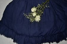 "Soft Surroundings Heritage Linen Bedskirt Navy King 17"" Drop Orig $199"