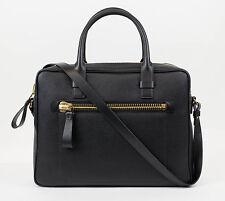 New TOM FORD Large Black Pebbled Leather Shoulder Briefcase Bag $3395