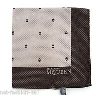 ALEXANDER McQUEEN POLKA DOT SKULL POCKET SQUARE HANDKERCHIEF BROWN AND CREAM