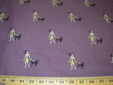 "~7 YDS~ ""WALKING THE DOG"" POODLE~CHIC EMBROIDERED~UPHOLSTERY FABRIC FOR LESS~"