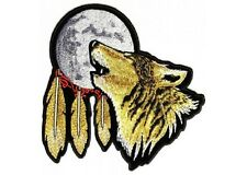 "(L20) Large HOWLING WOLF MOON 12"" x 12"" iron on back patch (3120) Biker"