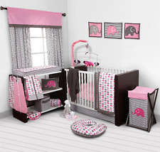 Bacati Elephants Baby Nursery Crib Bedding Set with Bumper Pad Pink/Grey 10 pc