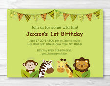 Safari Jungle Animal Printable Birthday Invitation Editable PDF