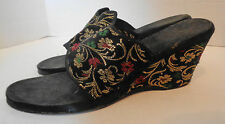 Vintage Black Brocade Slip In Wedgies Shoes Wedge Heels 6