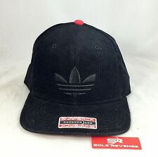 New adidas Originals Black Red TREFOIL Re-Cord Snapback Baseball Hat Corduroy