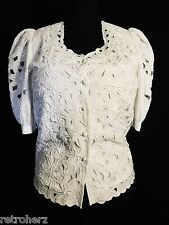 STEAMPUNK VICTORIAN EDWARDIAN GOVERNESS COSPLAY EYELET EMBROIDERY TOP BLOUSE 12