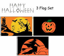 3x5 Happy Halloween 3 Flag Wholesale Set #11 3'x5' House Banner Grommets