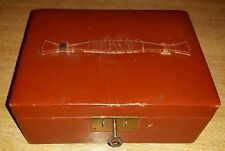 VINTAGE ANTIQUE LEATHER JEWELLERY BOX WITH KEY