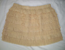 NEW J.Crew L large Mini Skirt Mesh lace & Cotton Tiered beige party NWT