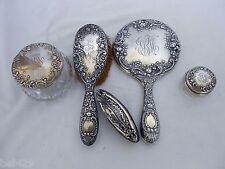 Gorham sterling silver ornate Victorian dresser mirror set
