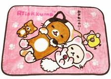 Rilakkuma fluffy Soft Warm  blanket pink  relax with Cat series  Rare Blanket