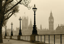 Big Ben And Houses Of Parliament, London In Fog Poster Print, 19x13