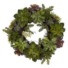 Nearly Natural 20 Inch Succulent Wreath 4798 Green