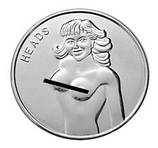 Pin Up Lucky Lady Silver-Mirrored Nymph Good Luck Charm Challenge Coin Man Gift