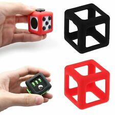 For Fidget Cube Stress Relief Focus Toy Protective Cover Case Black / Red