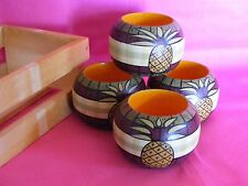 Set of 4 Wooden Napkin Rings Painted with Pineapples in Crate