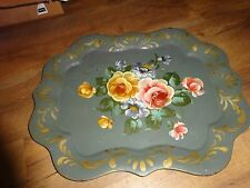 Olive Green Metal Flowered Serving Tray Gold trim Scalloped Edges 19 x 15