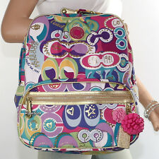 New Coach Poppy Pop C Grafitti  BackPack Book Bag Lap Top Bag F19432 New RARE