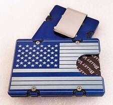 Blue Line Flag, Aluminum Wallet/Credit Card Holder, RFID Protection, Blue