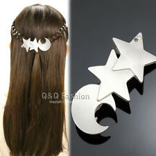 Goddess Silver Shooting Star Moon French Updo Hair Pin Clip Dress Snap Barrette