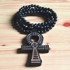 GOOD QUALITY HIPHOP BLACK CROSS PENDANT CARVED WOOD BEADS CHAIN NECKLACE 35""